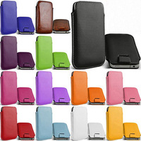 Free shipping + bulk novelty Leather PU Pouch Case Bag for sony xperia M c1905 Cover with Pull Out Function