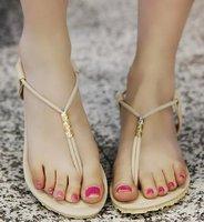 CooLcept free shipping quality flat beading bohemia sandals women Beading sexy fashion lady shoes P11963 hot sale EUR size 34-43