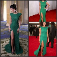 Grammy Solange Knowles 2014 New Fashion Special Occassion Dresses Long Sequin Prom Dresses With Sexy Slit On Leg Formal Evening