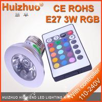 3W E27 110V - 230V Remote Control16 Color Spot RGB LED Bulb 3w rgb spotlight[huizhuo lighting]