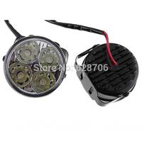 2x White 4 LED Car Auto Daytime Running Fog Light DRL LED Driving Lamp new