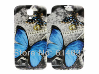 Blue Butterfly Printed Leather PU Flip Smart Battery Case Cover For Samsung Galaxy S IV S4 i9500