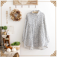 Fresh vintage peter pan small lapel loose high waist cute shirt long-sleeve dress