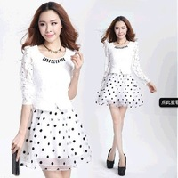Free Shipping Polka dot organza faux two piece set fashion party dresses lace 2014