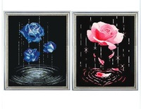 3d cross stitch embroidery pink rose series size 30*40cm