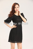 Slim spring European and American models lantern sleeve lace sleeve dress big yards