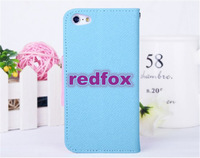 Luxury Flip Leather Case for Iphone 5C Contrast Color Holster with Card Slots Free Shipping 10Piece Only From Redfox
