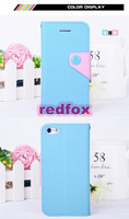 Contrast Color Leather Case Buttons Holster Credit Card Slot Wallet Leather Stand Flip Shell Cover For iPhone 5C From Redfox