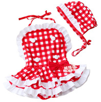 LY003 Free shipping new arrival baby swimsuit plaid girl one piece swimwear+hat 2 pcs summer kids beachwear wholesale and retail