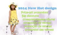 2014 New Girl's Summer sunshine design Yellow dress with bowknot and floral-print