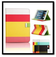 High Quality Colorful Hybrid PU Leather Wallet Flip Pouch Stand Smart Case Protective Cover For iPad Air 5 Free Shipping