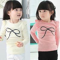 spring 2014 and autumn spring bow girls clothing baby child long-sleeve T-shirt tx-2196 basic shirt