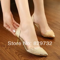 Free shipping 2014 new women pumps women shoes high-heeled shoes thin heels transparent glue all-match