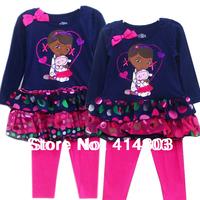 2014 New Arrival.2-4Y Kids DOC Mcstuffins 2PCS Suit, Girls Long Sleeve Dress+ Leggings, Children's Clothing Set/ 3sets