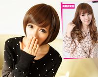 Cute short sttraight women's full lace oblique fringe wig