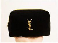 Free shipping Cosmetic Wristlet Black Suede metal logo pull head travel wash cosmetic bag sorting bags wash bag