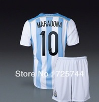 Argentina 2014 World cup soccer uniforms jerseys and short football kit Messi Maradona higuain di maria kun aguero lavezzi kits