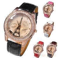 Womens Girl's Champagne Dial Lovers Lips Eiffel Tower Analog Quartz Wrist Watch Wristwatches Women Items 041M
