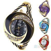 Fashion Women Rhinestone  Round Crystal Decorated Bangle Cuff Analog Quartz Bracelet Dress Watch 041D