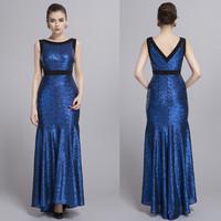 2014 Elegant Blue Sequins Evening prom  Ball Women full length wedding Dress