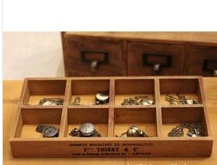 Zakka solid wood box retro vintage finishing desktop storage cabinet box jewelry box cosmetics storage pallet 8(China (Mainland))