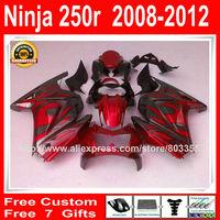 Fairings + 7Gifts for Kawasaki ninja 250r 2008 2009 2010 2011 2012 red black monster flames fairing kit  08-12 ZX250R XXS#11