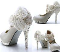 Ivory Lace Flowers High Heels Platform Bridesmaid Bridal Wedding Shoes
