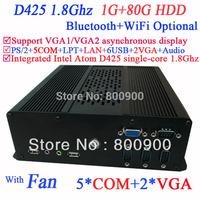 New Arrival Mini Computer PC Desktop with dual VGA Intel Atom D425 single-core processor 1.8Ghz 1G RAM 80G HDD Windows Linux