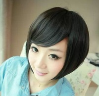 New fashion style women's short straight full lace gradient bang wig