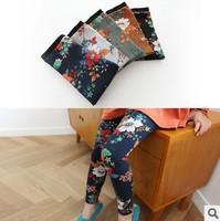 5 pcs lot 2014 new kid girls fashion flower print cotton leggings wholesale korean design legging childrens cute clothing lot