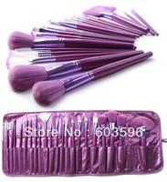 21pcs/Set  Professional Nylon  Makeup  Kit  Brusher Eyeshadow Blush Lip Brush Set  With Soft  Makeup Purple PU Bag