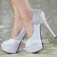 Glitter Royal Crystal Bows Platform High Heels Princess Wedding Bridal shoes