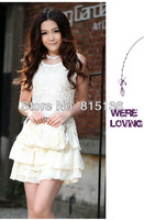 New Heavy hollow white sequins embroidered lace sleeveless dress