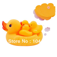 4pcs/lot yellow duck squeeze-sounding dabbling toy bath toys classic toys unisex