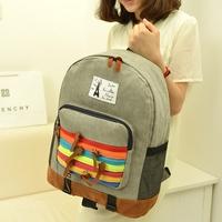women backpack canvas material rainbow printing backpack school backpacks