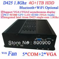 Mini PC XP Windows 7 Linux Ubuntu HTPC Desktop Computers with 2 VGA Intel Atom D425 single-core processor 1.8Ghz 4G RAM 1TB HDD