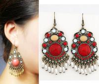 New Bohemia Designer Fashion Dangle Earring Jewelry Red Imitation Stone Rhinestone Tassel Drop Earrings for Women Gift Wholesale