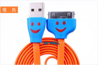 Smile face Usb cable for iphone 4 4s Flat noodle cable line with LED light for iphone 4 4s Free shipping