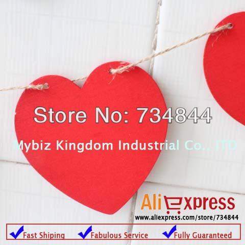12 x Mini Wooden Chalkboard Signs Wedding Bunting Garland Love Banner Wedding Decoration Valentines Photo Prop Red(China (Mainland))