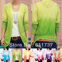 CC2014# New Fashion 2014 Women Lace Sweet Candy Color Knit Top Thin Blouse Women Sweater Cardigan