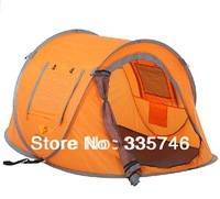 Quick Automatic Opening Three-season FRP 2 Person Camping Single Tourism Outdoor Automatic Equipment Pop Up New 2014 Orange Tent