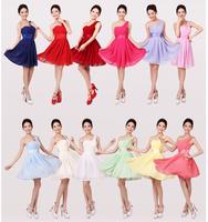 2014 new arrival plus size long wedding dress formal dresses one shoulder chiffon modest Bridesmaid dresses party dresses gown