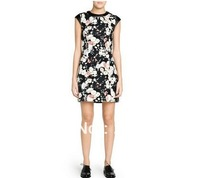 525651 Euro Fashion Style O-Neck Sleeveless Flower Print leather Patchwork Dress Women Casual Slim dress