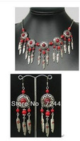 Details about  Set Jewelry tibet Silver Red Coral Beads Necklace&earring