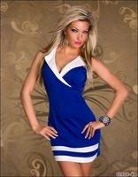 2014 sexy new Brand clubwear Nightclub queen sheath party bodycon Dress V-neck ladies free shipping blue white red M97
