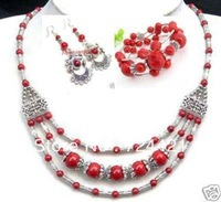 BEAUTIFUL NEW IN TIBET STYLE TIBETAN SILVER RED CORAL BEADS NECKLACE