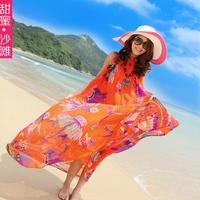 Sweet 2014 new  beach chiffon girl's  dress with belt bohemia beach dress big dress Maxi women dress