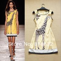Free Shipping 2014 Spring and Summer Women's Fashion Printed Cute Giraffe Sleeveless Casual One Piece Dress