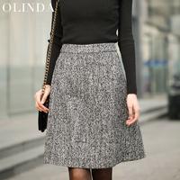 women's new  spring Slim fit brief vintage tweed fabric plus size xl high waist wool a-line woolen short skirt free shipping