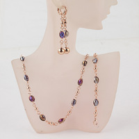 Free Shipping Fashion Women's 18k Gold Filled Purple Austrian Crystal Necklace Bracelet Earring Wedding/Bride Jewelry Set Gift